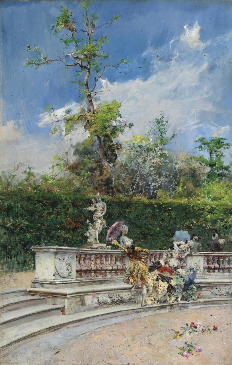 Giovanni Boldini. Company with umbrellas, Versailles