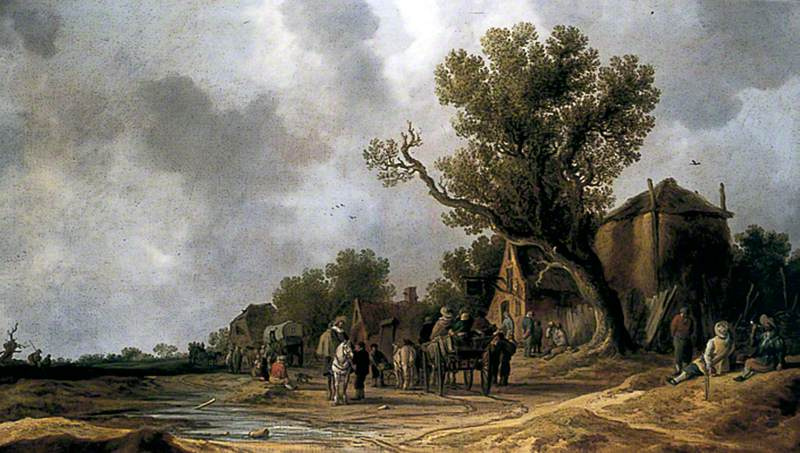 Jan van Goyen. Travelers at the hotel