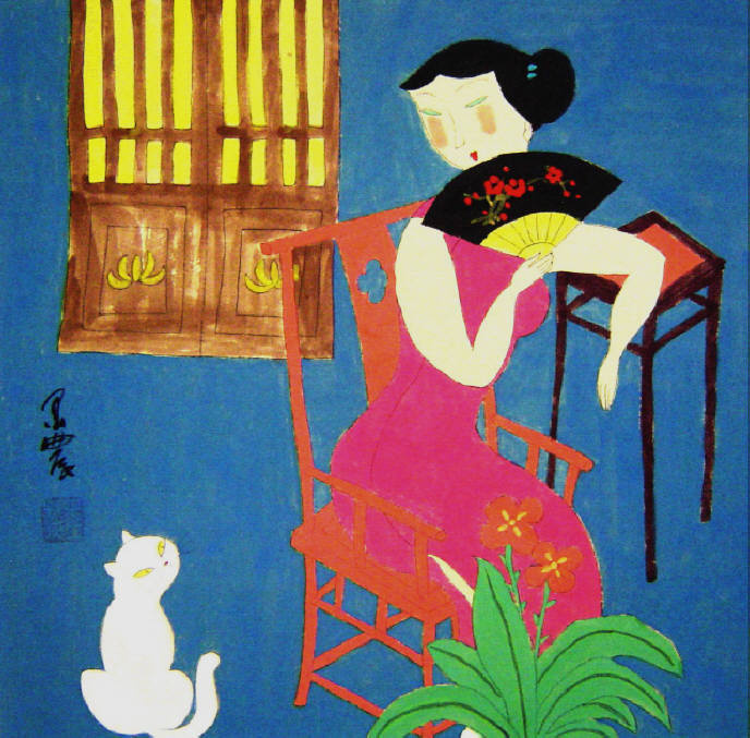 Гу Юэ. Девушка в розовом с веером