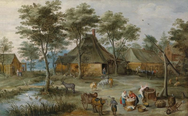 Йос де Момпер Младший. Деревенский пейзаж с колодцем