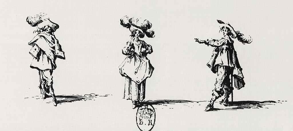 Жак Калло. Дама в большой шляпе с перьями и два кавалера