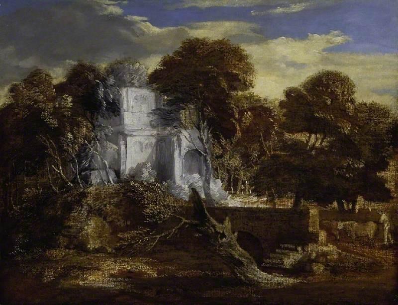 Томас Гейнсборо. Пейзаж с замком и пастухом и коровами у моста