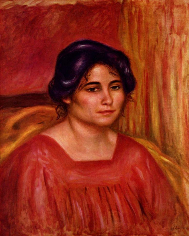 Pierre-Auguste Renoir. Gabrielle in a red blouse