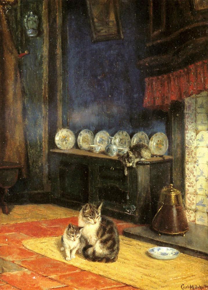 Carl Emil Mukk. Feeding cats