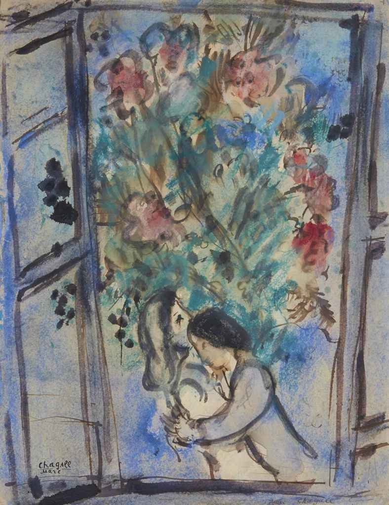 Marc Chagall. Lovers in the window