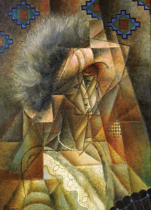 Jean Metzinger. Woman in pink hat and pearl necklace