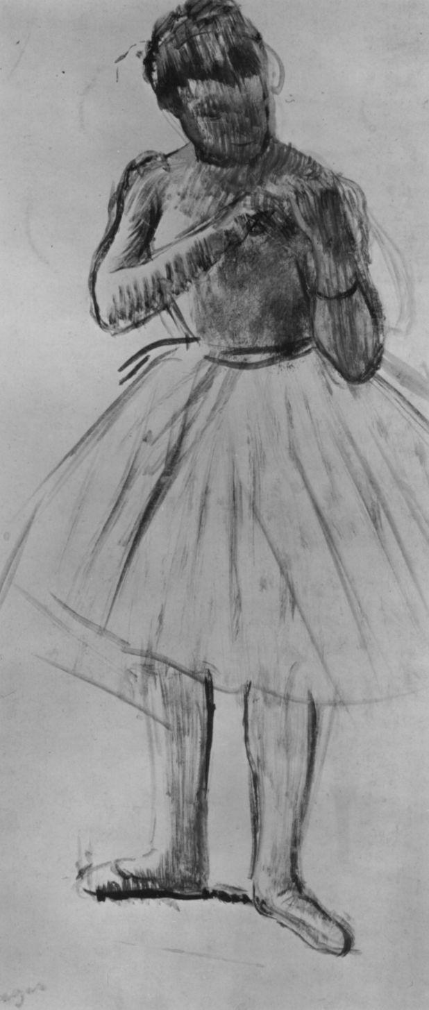 Edgar Degas. Ballerina tying the bow on the shoulder