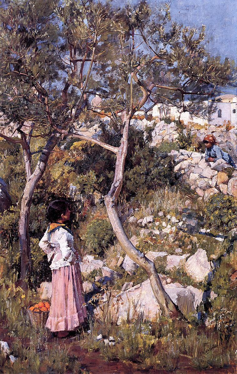 John William Waterhouse. Two young Italian girls in the village