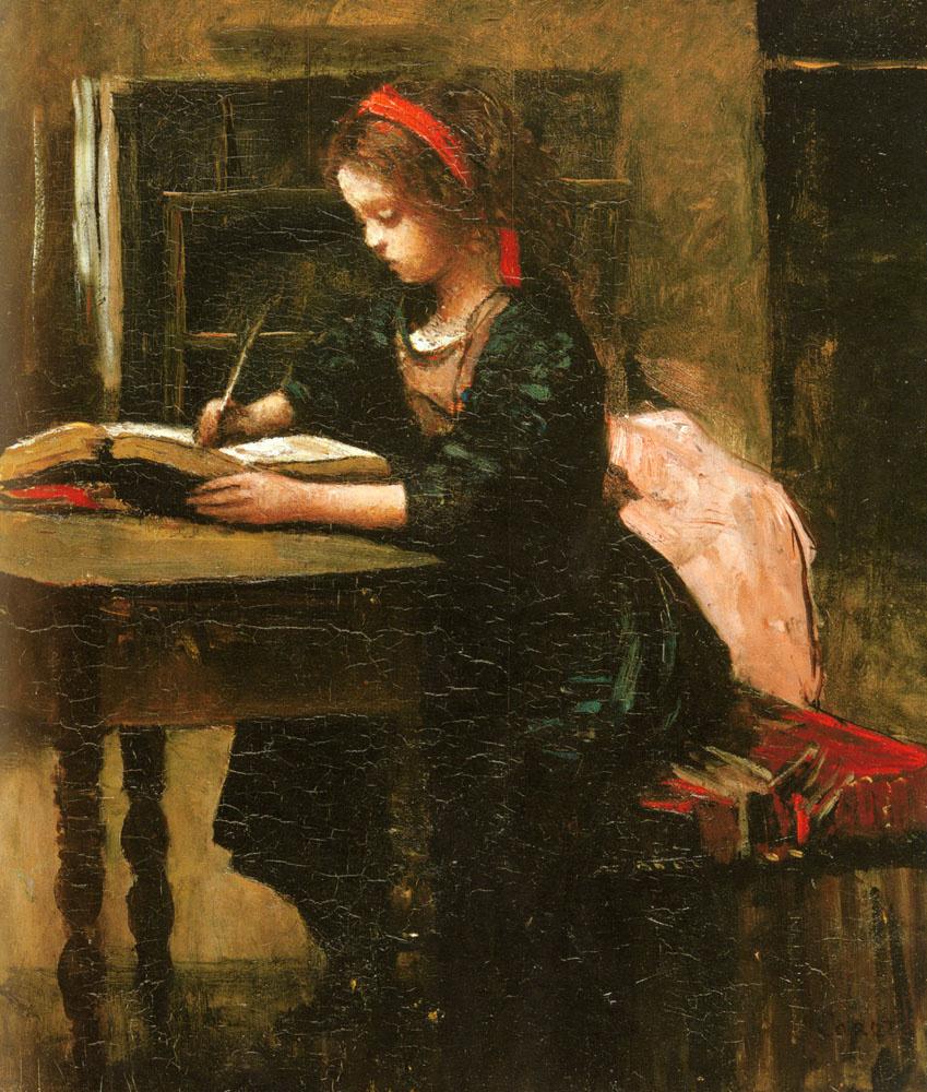 Камиль Коро. Девушка пишет