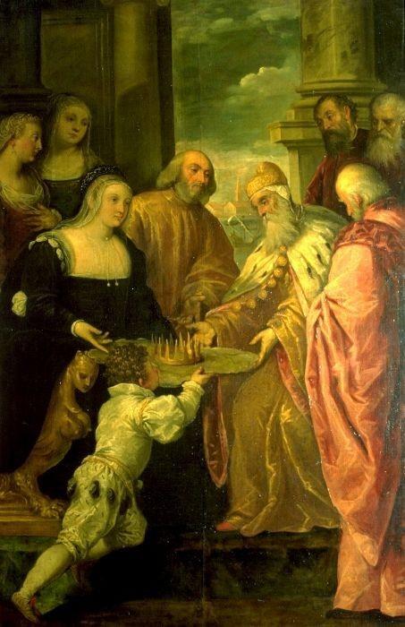 Jacopo Palma Junior. Catarina Cornaro (1454-1510) takes Dodge Agostino Barbarigo the crown of Cyprus, 1489