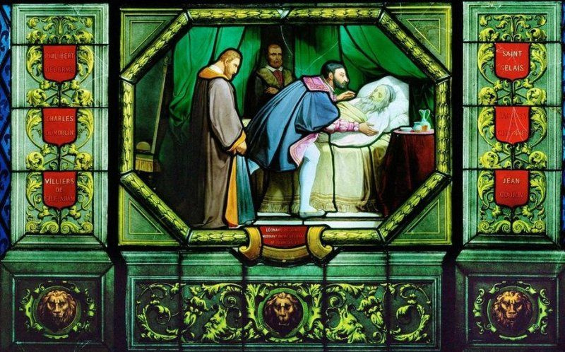 "Jean Alo. The death of Leonardo da Vinci (Detail of stained glass ""scenes from the life of Francis I."")"