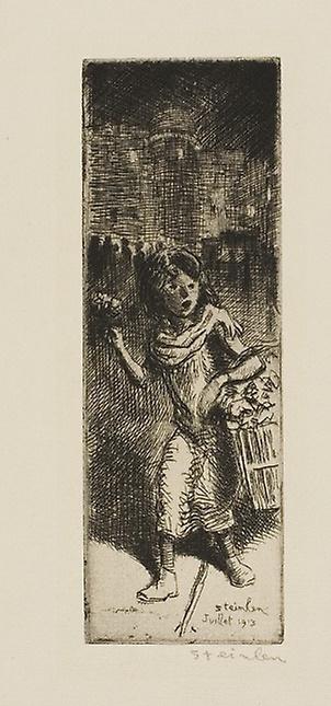 Theophile-Alexander Steinlen. Little flower girl