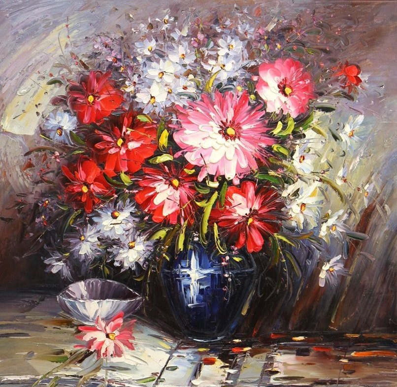 Andrzej Vlodarczyk. Bouquet with red flowers in a blue vase