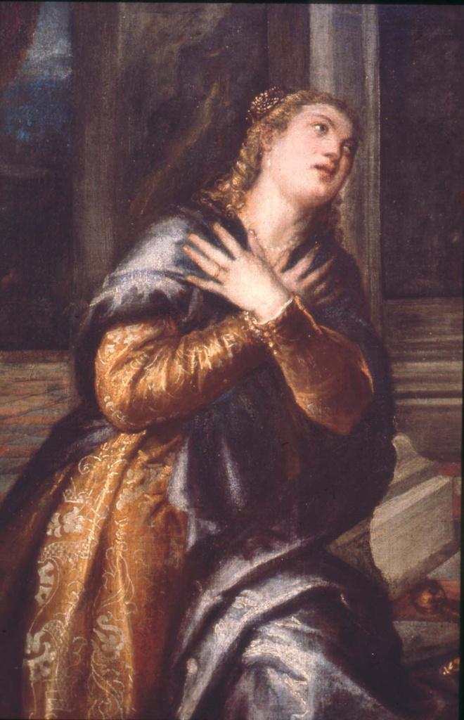 Titian Vecelli. Saint Catherine of Alexandria in prayer. Fragment