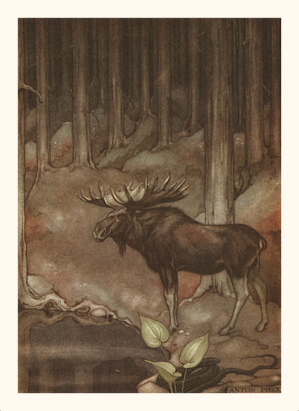 Anton Pieck. Journey of Nils with wild geese. Moose and snake