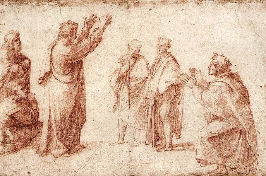 Рафаэль Санти. Набросок для Св. Павел проповедует в Афинах