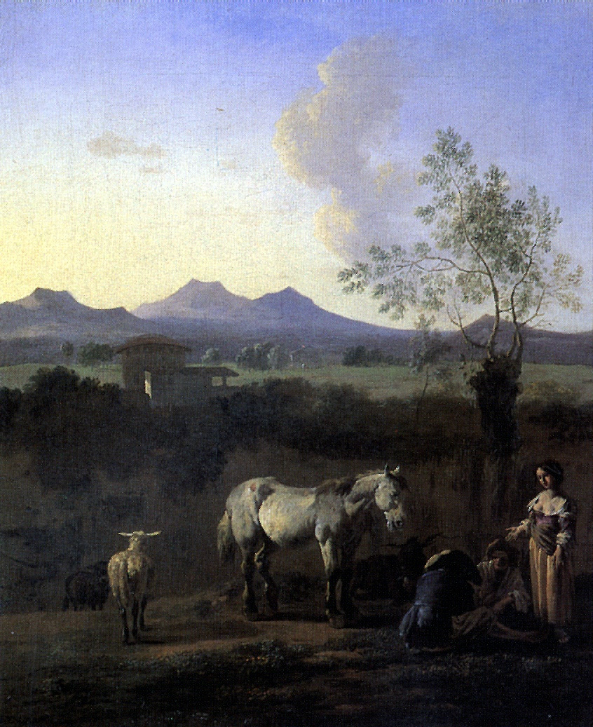 Karel Dujardin. Shepherds, horse, cow and sheep in a meadow with trees