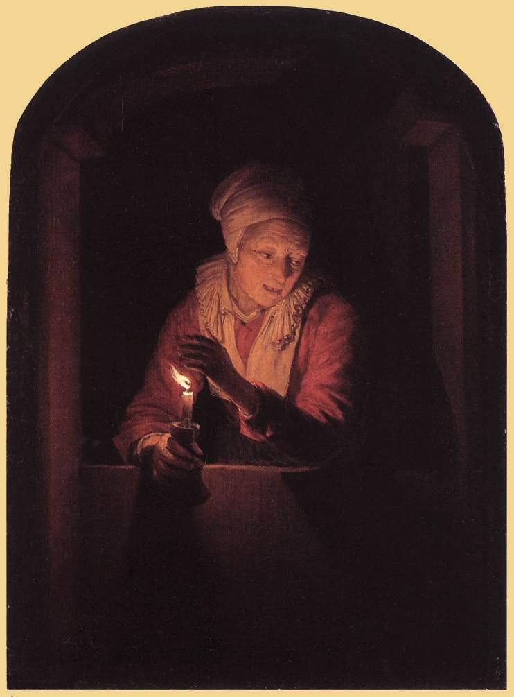 Геррит Доу. Женщина со свечой