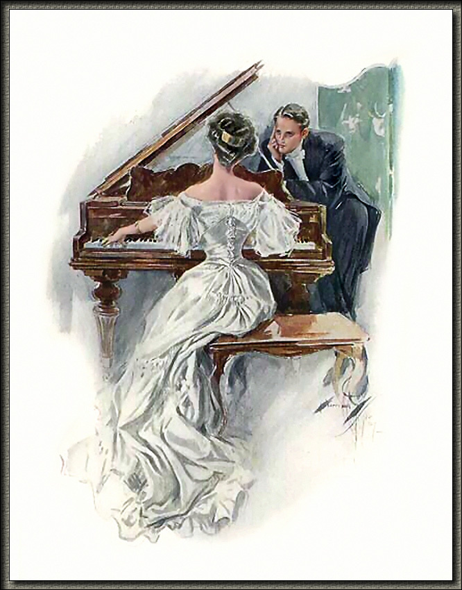 Харрисон Фишер. Дама в белом у рояля