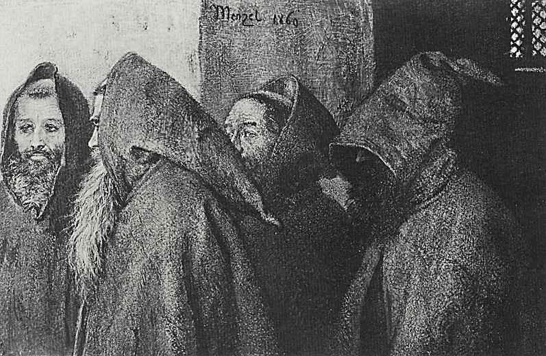 Адольф фон Менцель. Четыре монаха