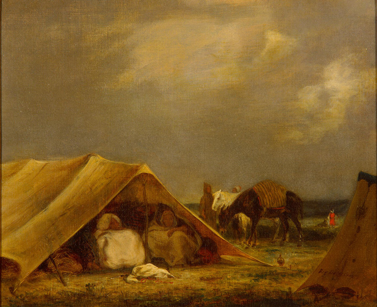 Eugene Delacroix. The camp of an Arab muleteers