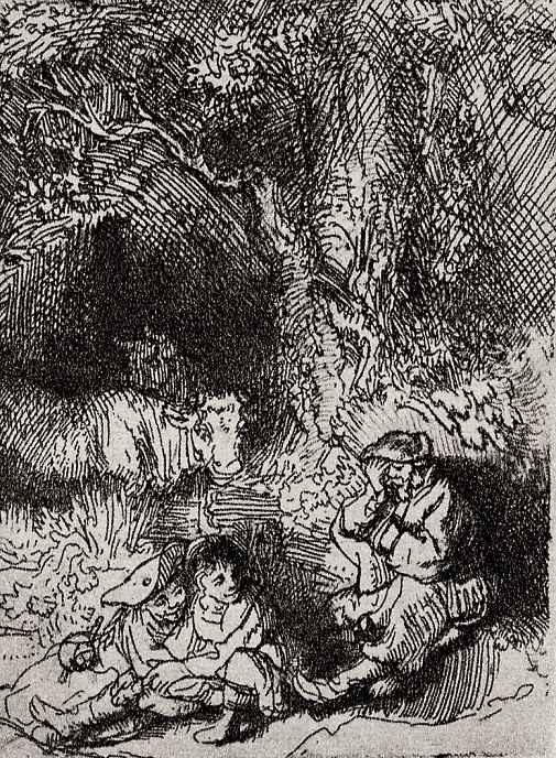Рембрандт Ван Рейн. Любовная пара и спящий пастух