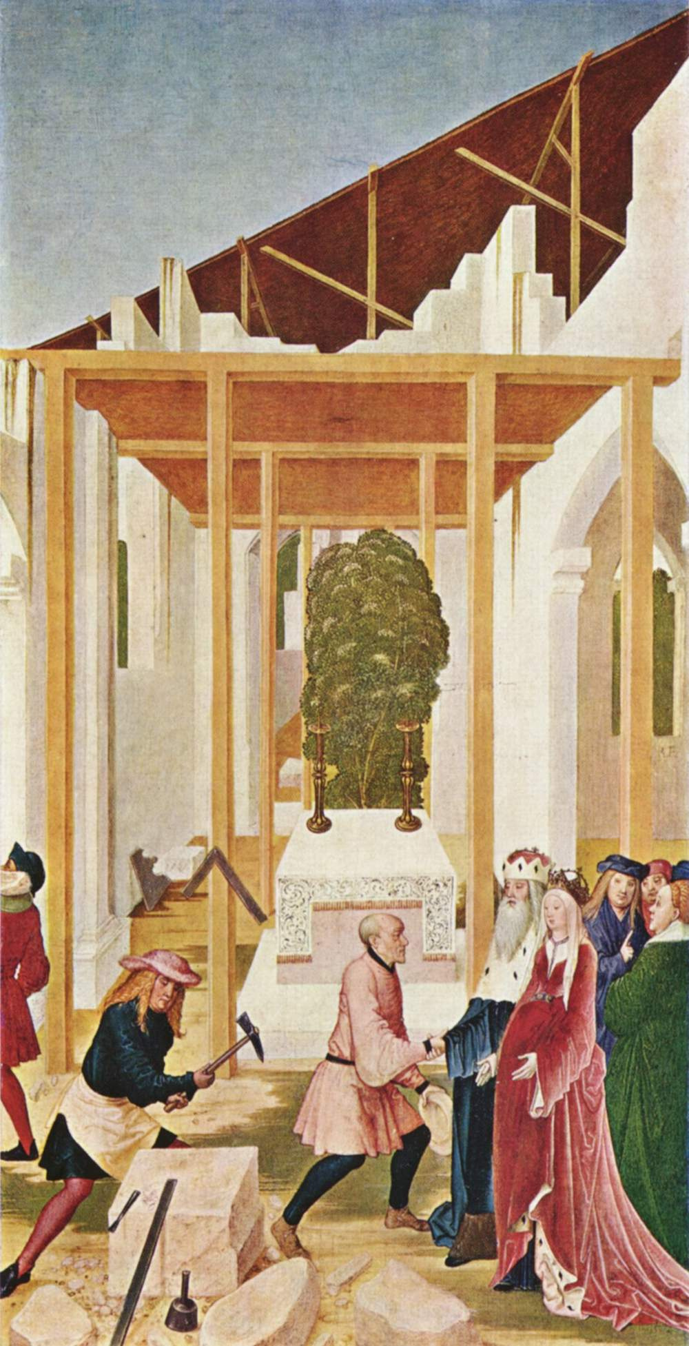 Rueland Fruauf the Younger. The altar of St. Leopold, the side fold: the construction of the monastery Church