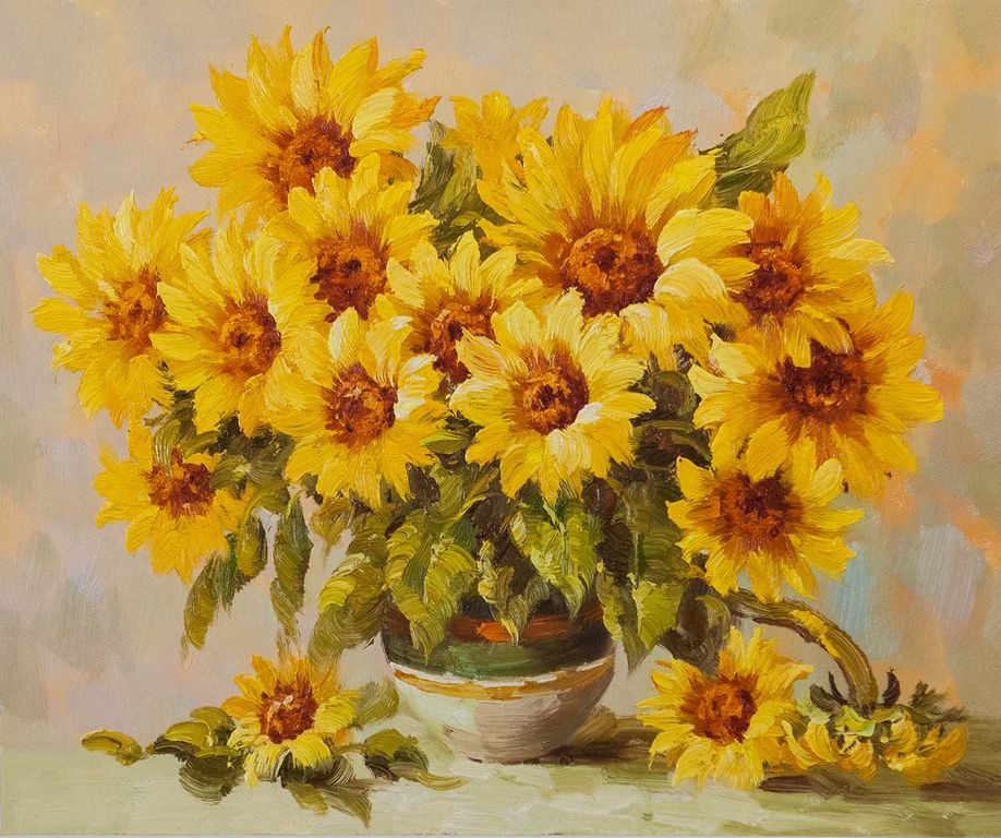 "Andrzej Vlodarczyk. Still life with oil ""Bouquet of sunny sunflowers"""