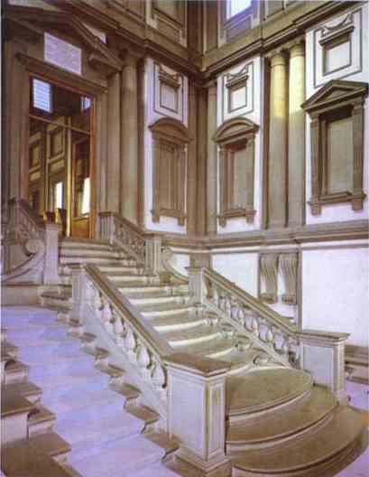Микеланджело Буонарроти. Вестибюль Библиотеки Лауренциана.