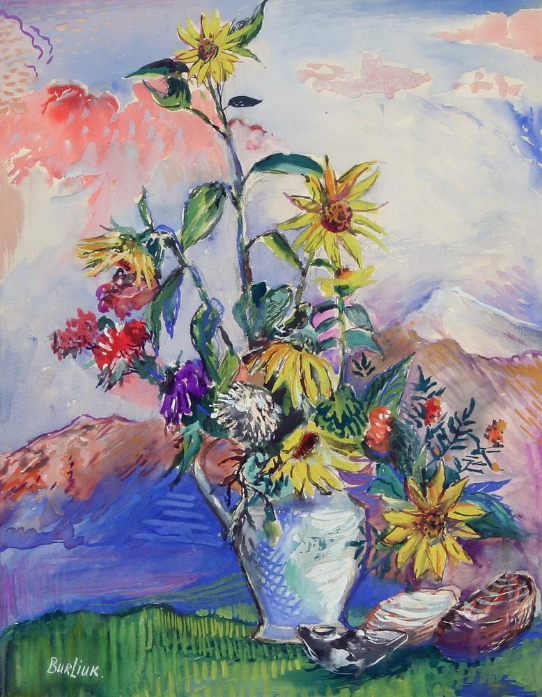 Давид Давидович Бурлюк. Цветы и ракушки на горном пейзаже