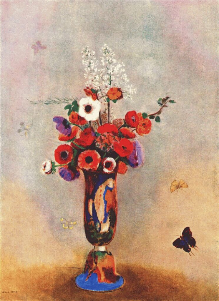 Vase with flowers and butterflies by Odilon Redon: History, Analysis ...
