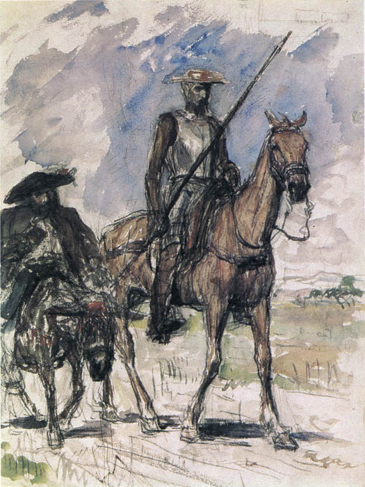 Valentin Aleksandrovich Serov. Don Quixote and Sancho Panza