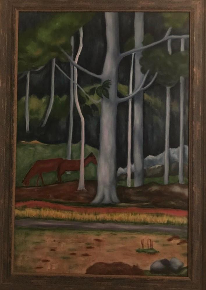 "Inga Kotlyarskaya. Free copy of ""Landscape in Tahiti"" (Paul Gauguin)"