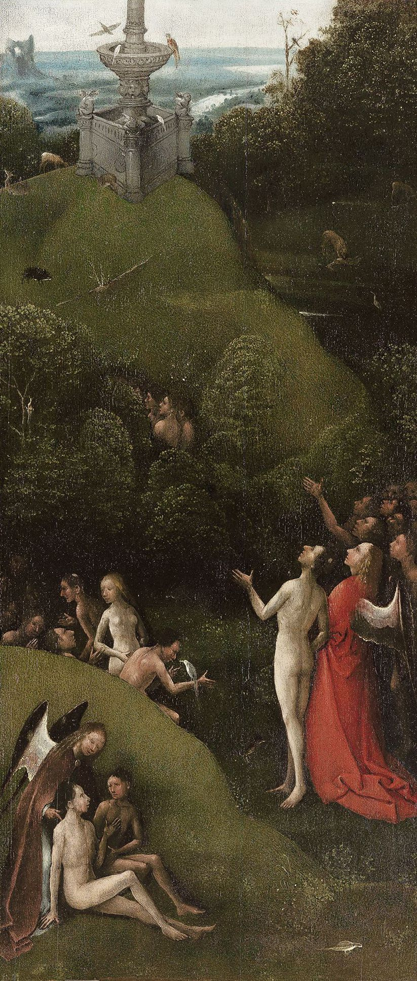 Hieronymus Bosch. Earthly Paradise. The polyptych Visions of the underworld (Blessed and cursed). The left panel