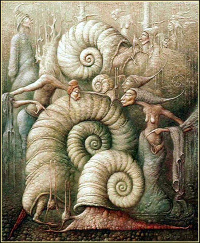 "Vladimir Petrany. ""The passion of the big snail"" oil on canvas"