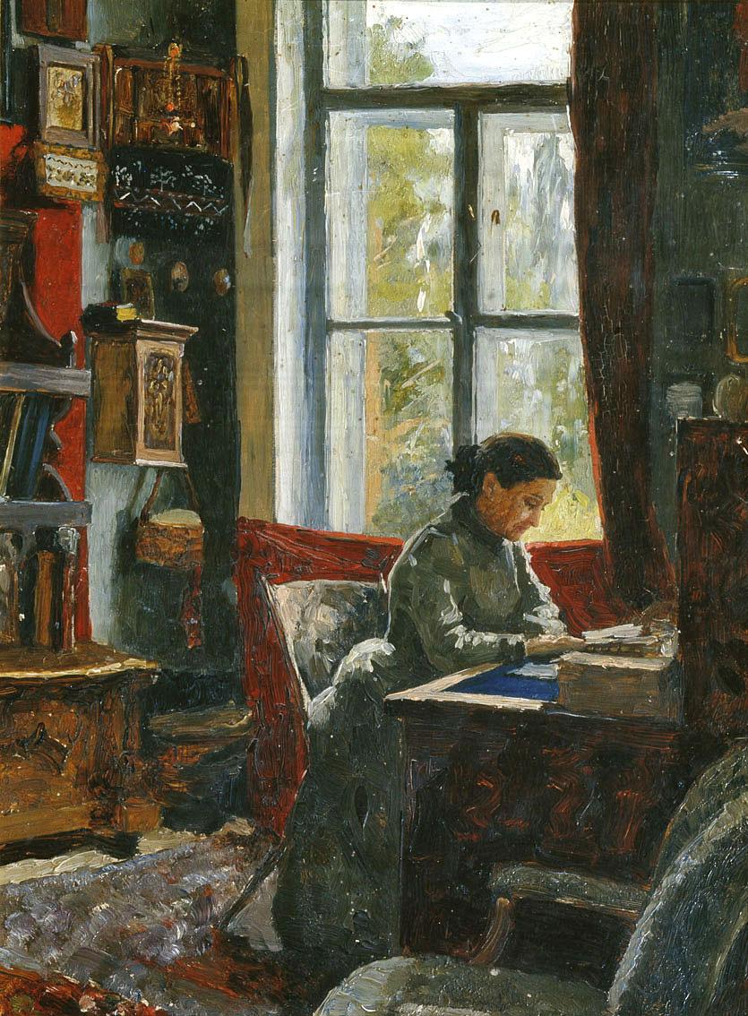 Alexander Alexandrovich Kiselev. Е. Г. Мамонтова в своём рабочем кабинете в Абрамцеве