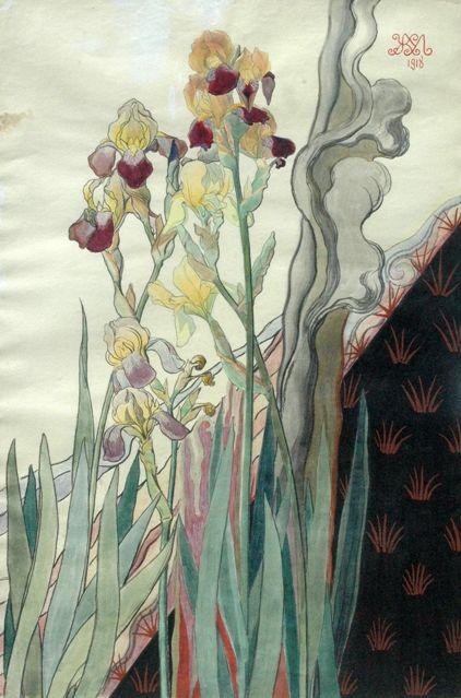 Его удивительные «Ирисы» и «Эскиз декоративного панно. Лилия» — прекрасные образцы флорального напра