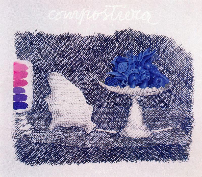 Concetto Pozatti. Still life in blue colors
