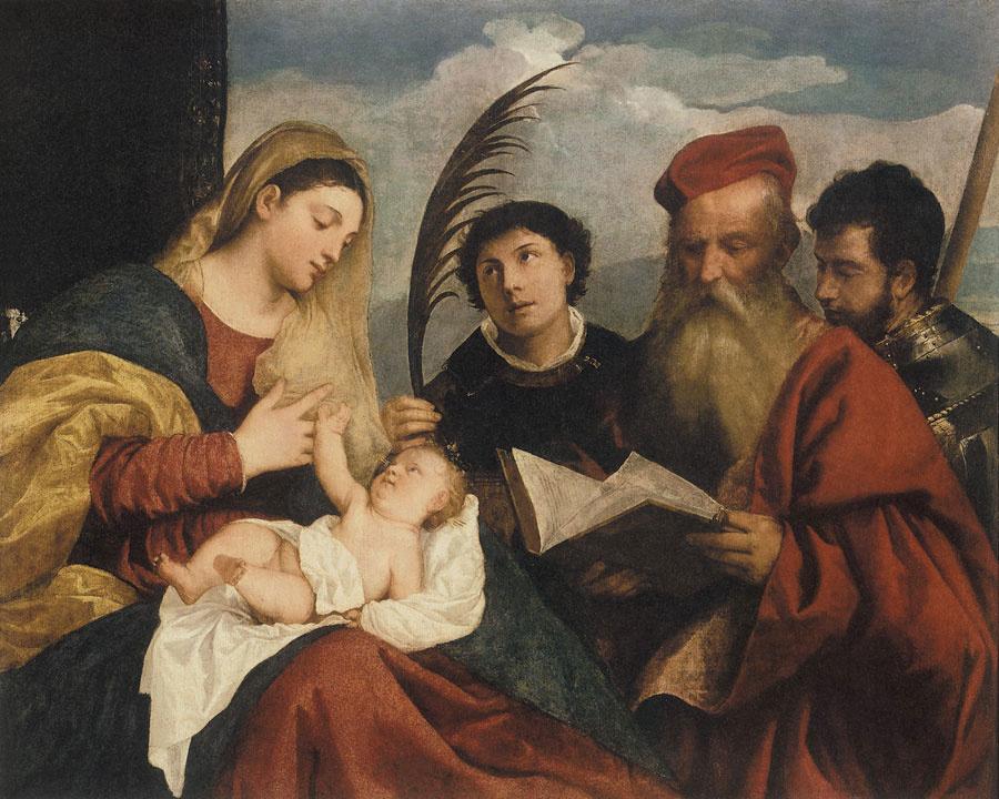Тициан Вечеллио. Мария с младенцем, святым Стефаном, святым Иеронимом и святым Маурицием
