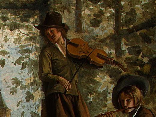 Ян Стен. Танцующая пара (фрагмент 5)