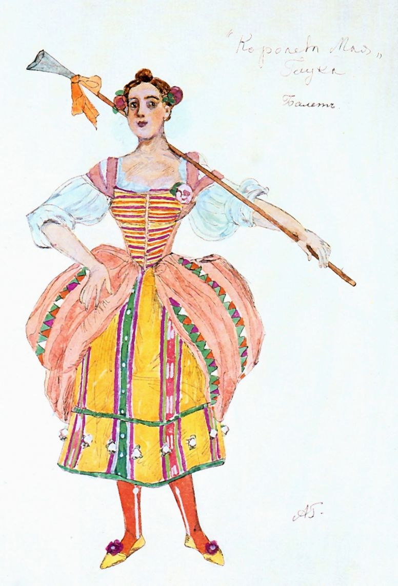 "Alexander Yakovlevich Golovin. Sketch of a female ballet costume for the pastoral ""may Queen"" by C. W. Gluck"