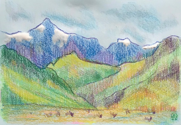 Larissa Lukaneva. The mountains. Sketch.