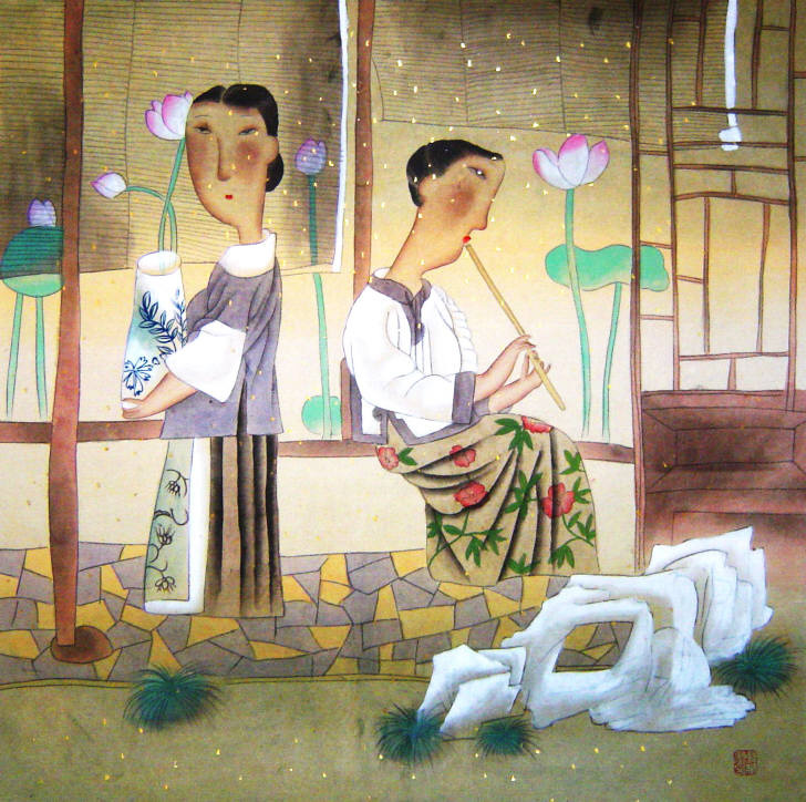 Gu Yue. Girl with flowers