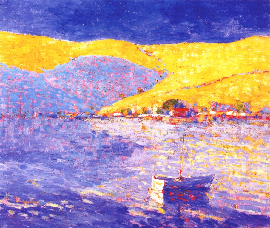 Gil. Boat and yellow hills
