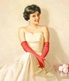 Walt Otto. Brunette in white dress