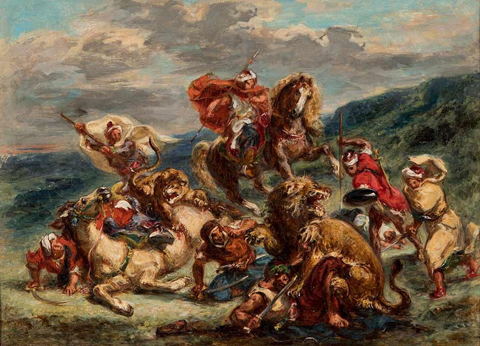 Eugene Delacroix. Lion Hunt