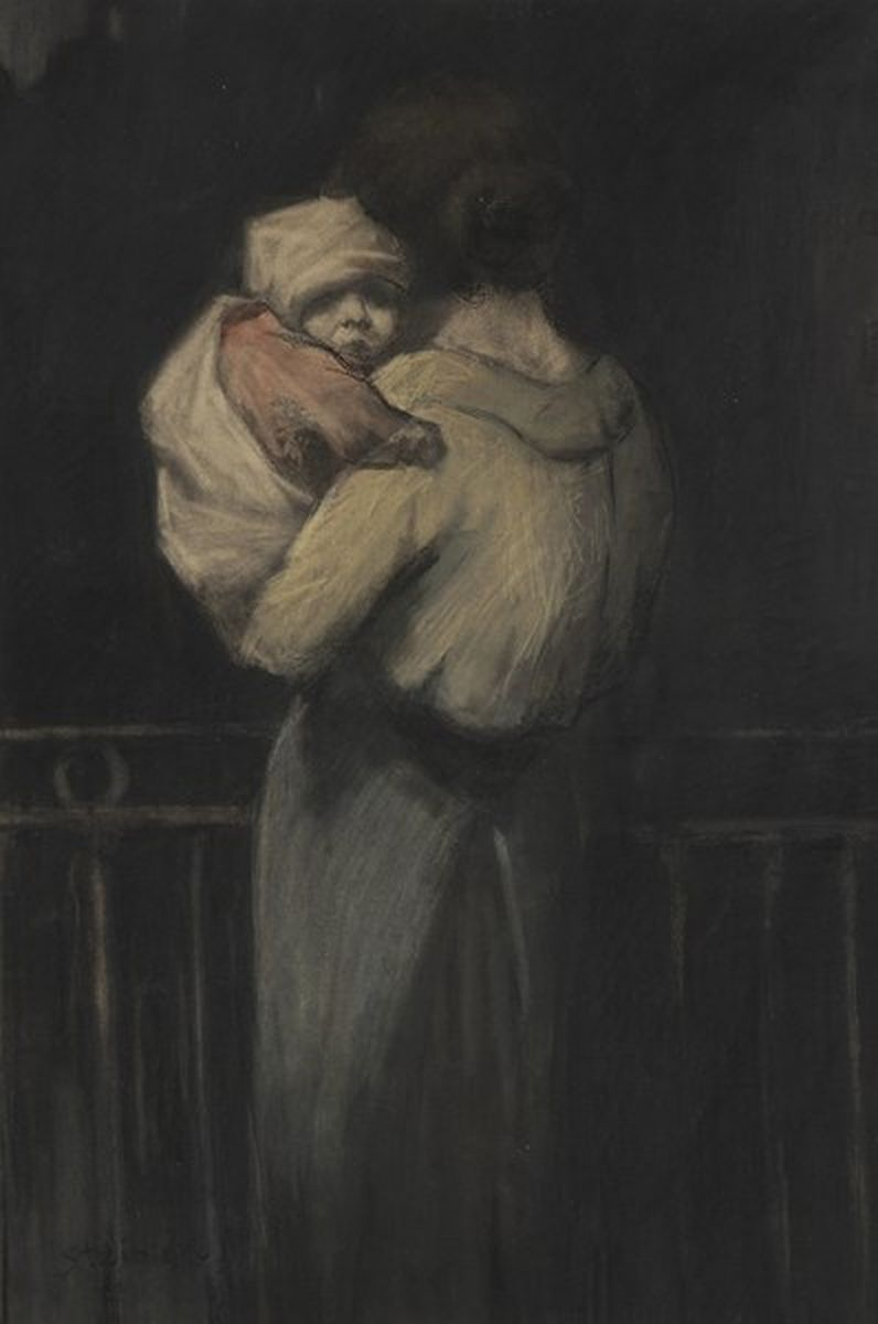 Theophile-Alexander Steinlen. The woman with the baby on the balcony