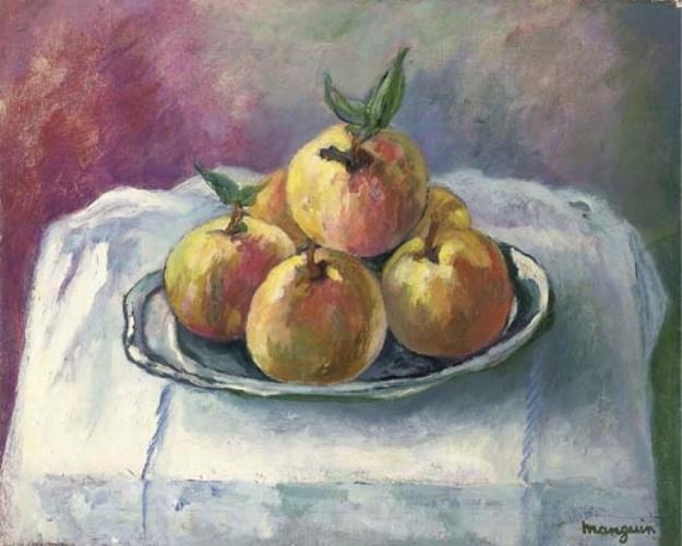 Henri Manguin. Peaches on a white tablecloth