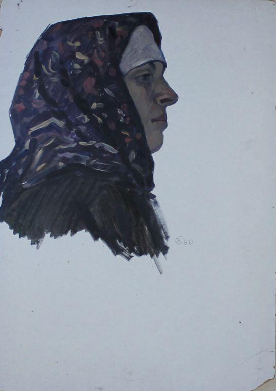 Orest Georgievich Betekhtin. Head of a woman in a scarf