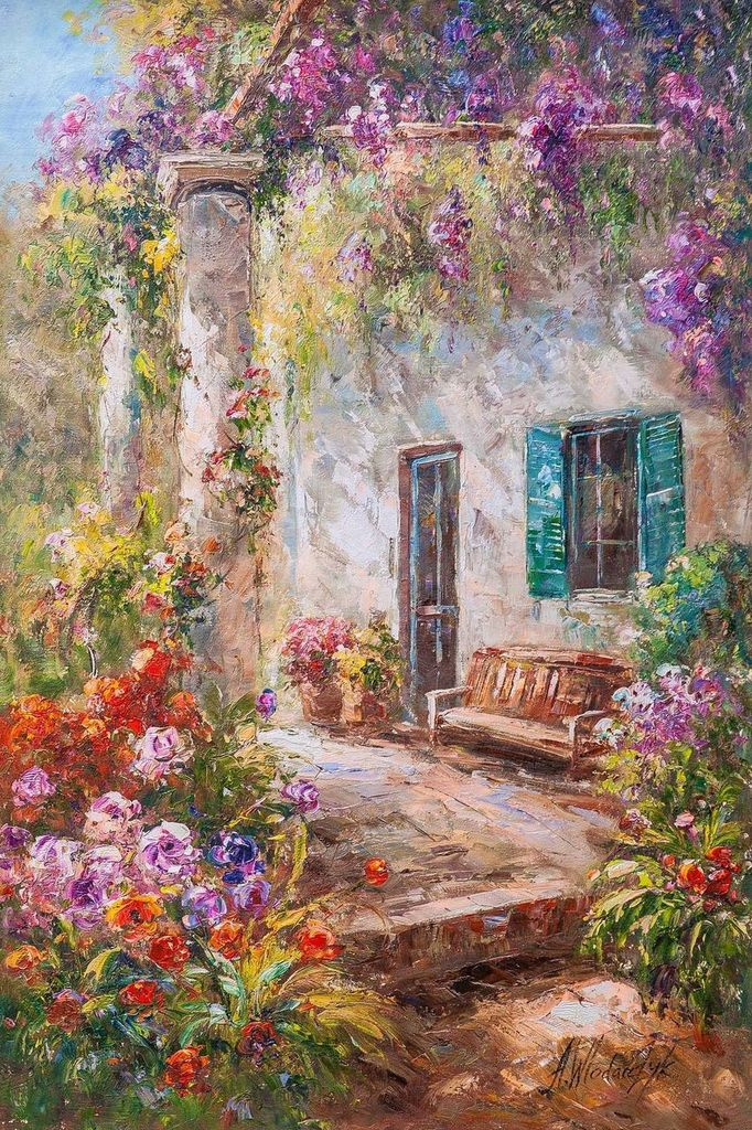 """Andrzej Vlodarczyk. Mediterranean landscape in oil """"In the thickets of wisteria N2"""""""